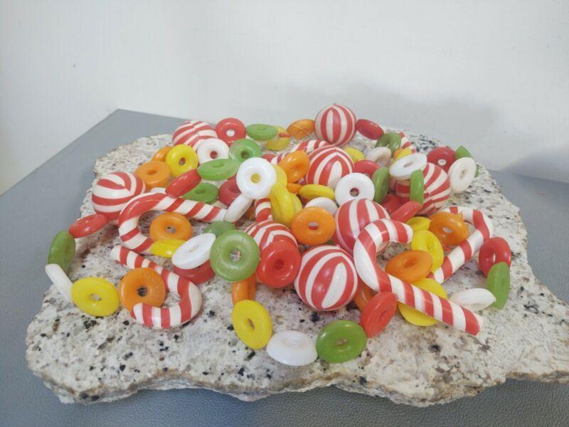 Vintage Christmas Tree Garland Blow Mold Plastic Candy Strings Hong Kong 8 Ft