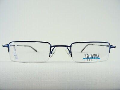 Blaue, eckige Herrenfassung  leichte Herrenbrille halbrandlos  Federbügel Gr. M