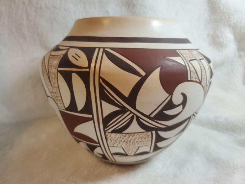 "Native American Hopi Pottery Bowl Joy Navasie Frog Woman 7"" x 6"" + artist photo"