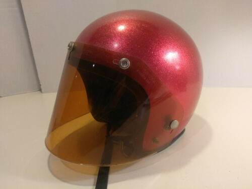 Vintage Red Glitter Motorcycle Helmet with amber face shield / Bike