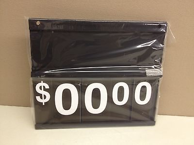 Case Of 13 Black Plastic Price Sign 12.5 X 11 Spiral Flip Dollar Numbers
