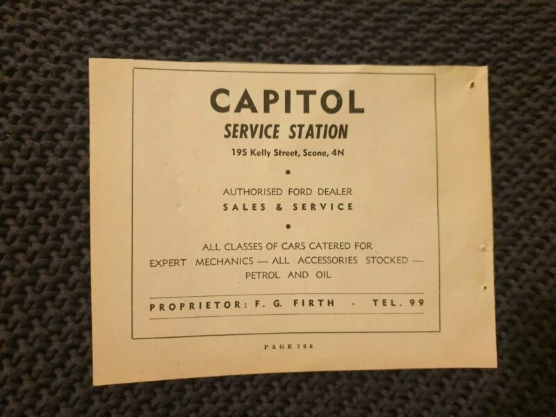 Capitol Service Station, Scone - 1954 Advertisement