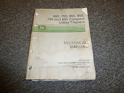 John Deere 955 756 856 Compact Utility Tractor Shop Service Repair Manual Tm1360