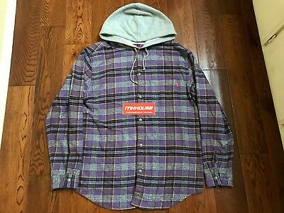 New Supreme Hooded Plaid Flannel Shirt Top Purple Box Logo Tee SS18 2018 Size L