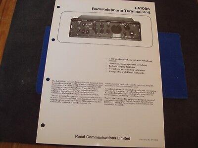 Racal LA1096 Radiotelephone Terminal Unit Brochure Mint