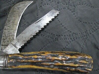 Antique Stag Horn Trinity Works Sheffield Pruning Knife Peter Henderson & Co.