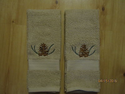 New 2 PINECONE & SPRIG Tan Hand Towels Cabin Lodge Decor Pinecone Lodge Bath Towel