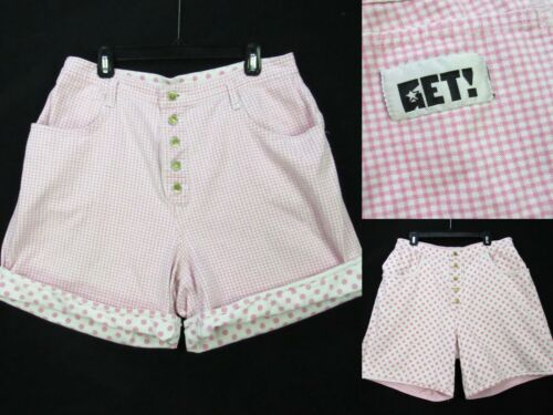 Vintage 80s GET! Shorts REVERSIBLE Denim 17/18 Pink Dots Plaid Button Fly