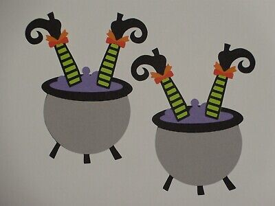 - 2 witch in cauldron scrapbook diecuts greeting card