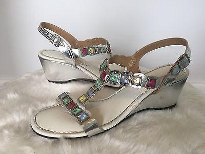 Vtg 1960s SIGNALS GLaDiaToR Stone Studded MeTaLLiC HiPPiE BoHo Sandals Shoes 7.5 (Hippie Shoes 1960s)