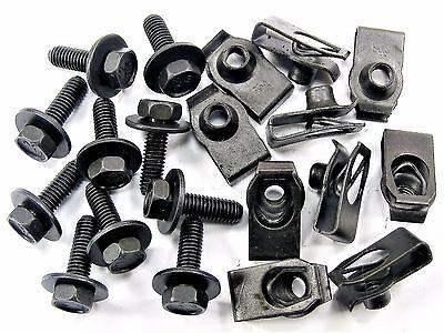Ford Truck Body Bolts & U-nut Clips- M6-1.0mm x 20mm Long- 10mm Hex- 20pcs- #150
