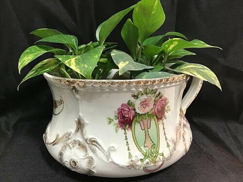 Vintage Antique J & G Meakin Ironstone Chamber Pot Art Nouveau Floral Peony