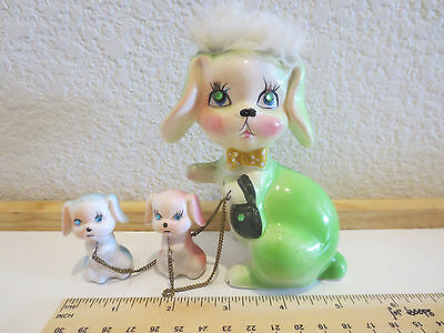 Kreiss & Co Figurine Green Mom Dog with Puppies Blue & Pink Mother Mama