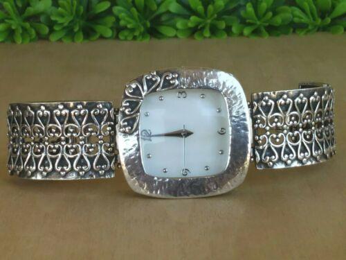 Sterling Silver 52.2 grs Scroll/Cut Out Detail Handmade MOP Dial Bracelet Watch
