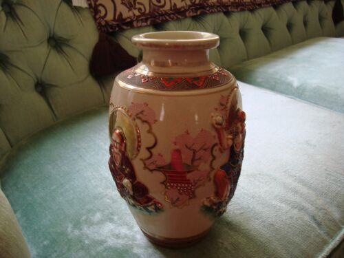 SATUSUMA VASE WITH BEAUTIFUL ART  DECO FIGURES IN EXCELLENT CONDITION