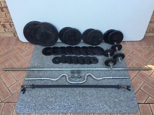 Free Weights Set - Bars, Dumbbells & 120kg Weight in Great Condition