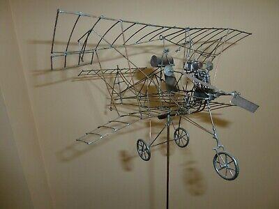Vintage 1970s Artist Gary Scott, Metal Wire Airplane Sculpture Unique