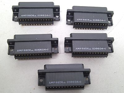 Lot Of 5 Amp 88606 206604-1 Connector 25 Pin Boardlock Right Angle Mount Rc