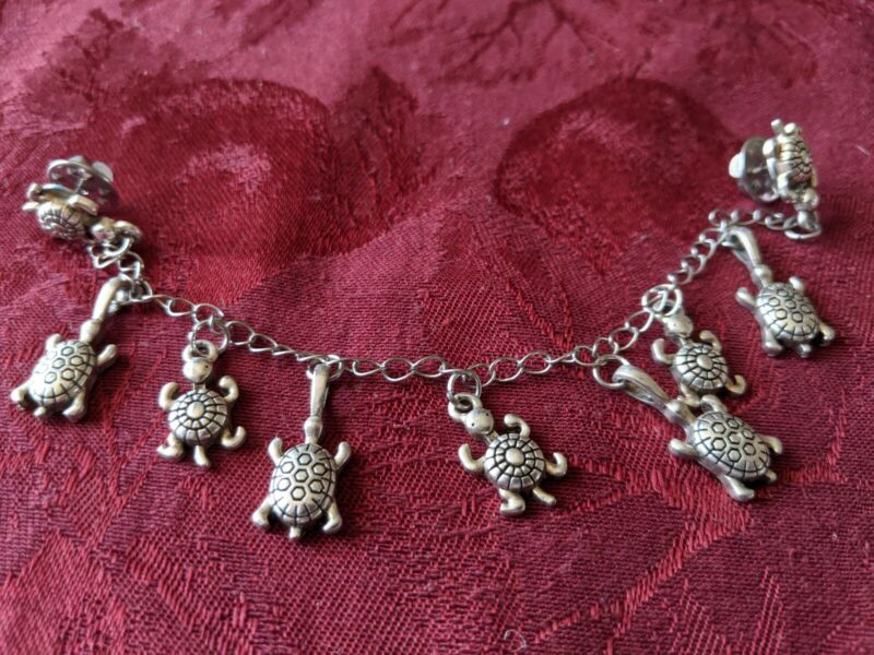 Vintage Sweater Cardigan Clip Guard Silvertone Dangling Turtle Charms