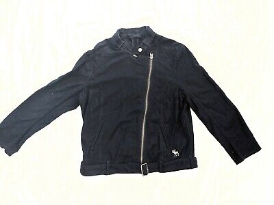 Women's Abercrombie & Fitch Navy Blue Moto Style Jacket Size Large EXCELLENT CON