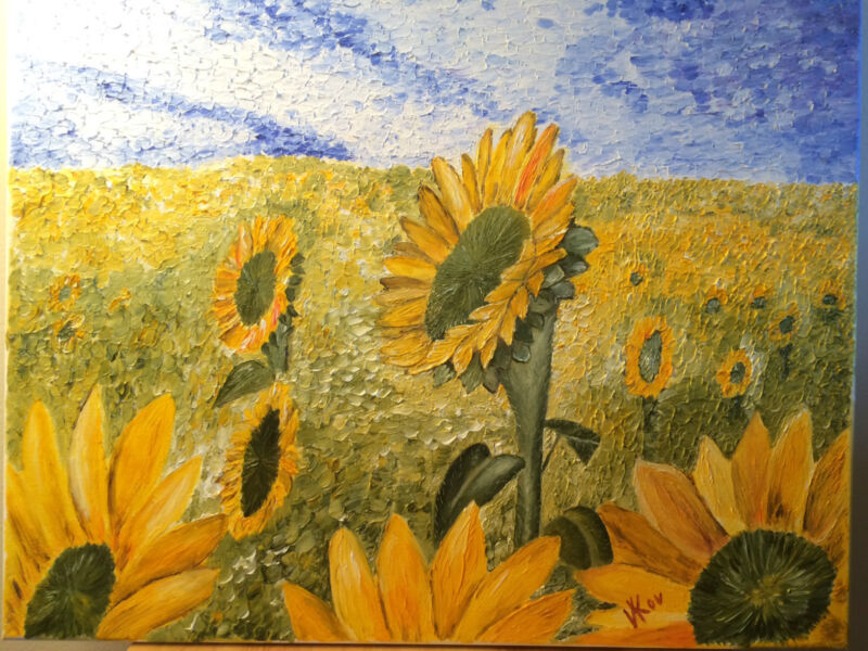 Sunflowers Original Oil Painting on Canvas 16x20