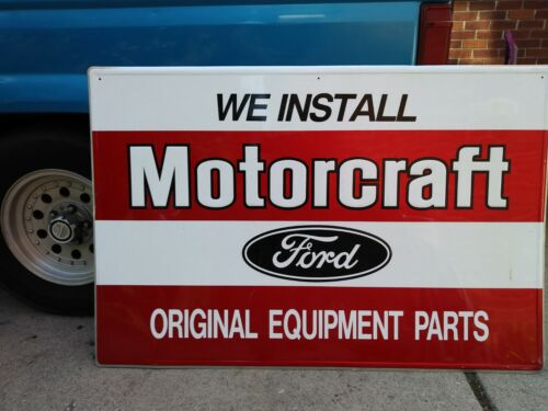 Vintage Large Ford Motorcraft Dealer Sign, Stamped Metal/Painted, 48 x 31 inches