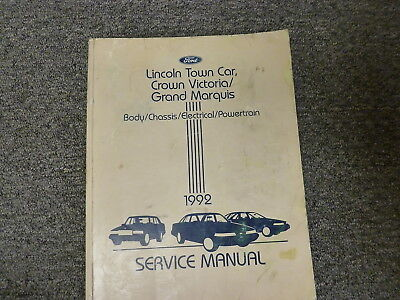 1992 Lincoln Town Car Body Chassis Electrical Engine Shop Service Repair Manual