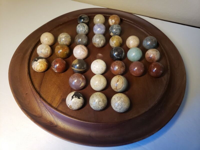 Vintage Wood Solitaire Game Board w/ Blue & White Glass Vintage Marbles Replace