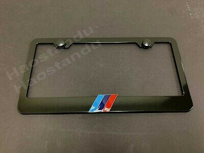 1x TRI-COLOR 3D Emblem BLACK Stainless License Plate Frame RUST FREE + Screw Cap
