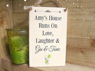 (HANDMADE Gin and Tonic  Plaque Sign Friend Housewarming Gift Personalised)
