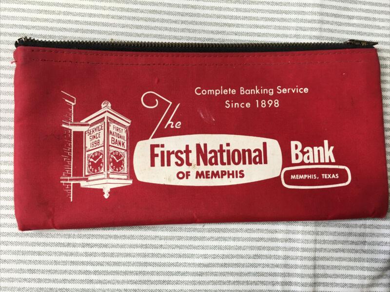 Vintage Zippered Money Deposit Bag   First State Bank Memphis Texas