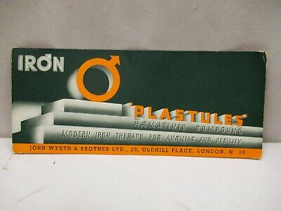 Vintage Iron Plastules London Medicine Advertise Sample Card Blotter Collectibl""