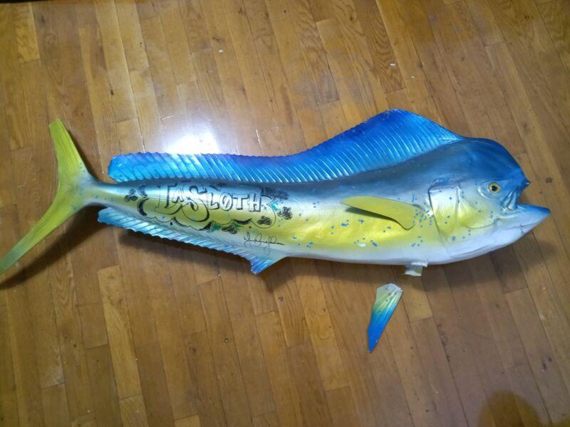 HUGE Fish Wall MOUNT MANCAVE Decor Trophy Damage Fin 50 inch Length