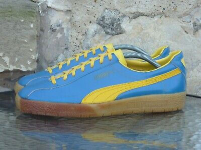 Vintage 1980s PUMA Delphin UK 9 Made In ? OG Blue / Yellow Suede Gum 80s 70s