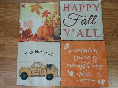 18 x 18 Square Throw Pillow Covers ~ Fall / Autumn ~ Set of 4