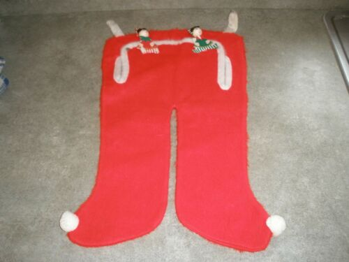 Vintage Christmas Stocking - Red Fuzzy Santa Pants - Double Snap Flap Closure