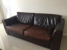 Brown leather 3-seat sofa Botany Botany Bay Area Preview
