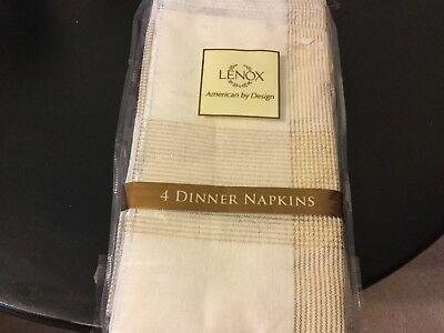 LENOX  DINNER NAPKINS 4 PK LIGHT GOLD NIP 4pk Servietten