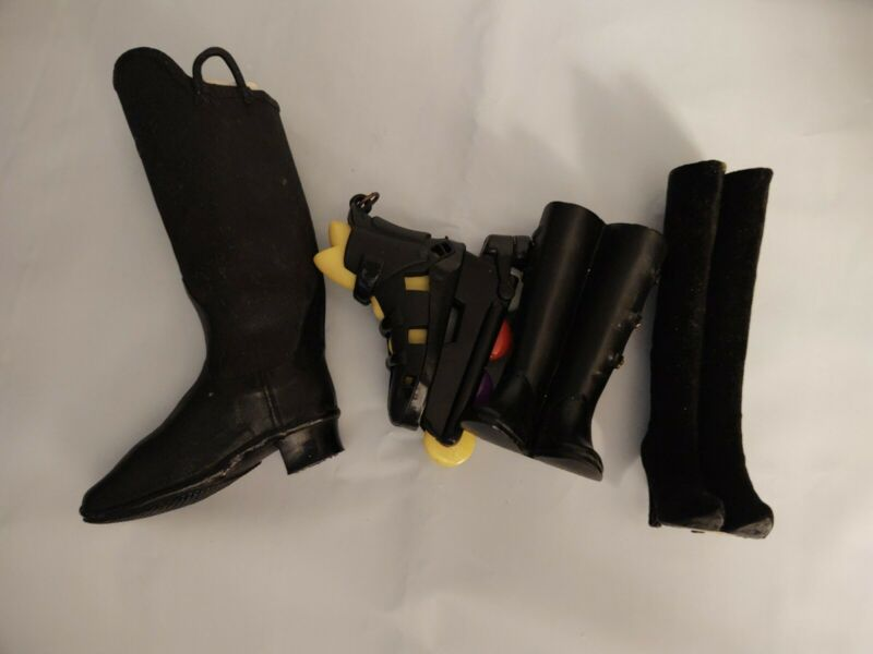 4 Miniature Boot Ornaments All Black 1 Inline Skate 2 Pairs 1 Single Boot Candee