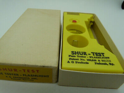 Vintage SHUR TEST Flashlight Fuse Tester AG Products in Box