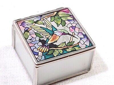AMIA Hummingbird On Flowers Stained Glass Hand Painted Jewelry Box Trinket Box Hummingbird Stained Glass Jewelry Box