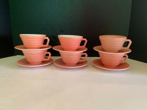 Vintage Hazel Atlas Moderntone Pink Cup and Saucer Set of 6