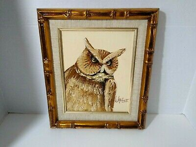 Vintage Owl Original Oil Painting by Frank Walcutt Framed Sined Matted
