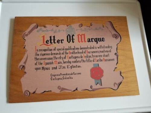 "Cartagena, Columbia  Découpage Souvenir, ""Letter of Marque"" Caribe Buccaaneer"