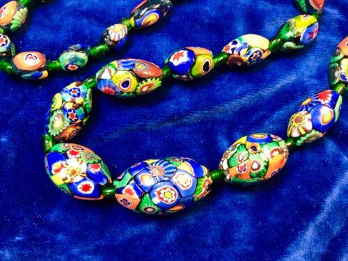 Antique vintage Art Nouveau Deco Murano Millefiori Venetian trade beads necklace