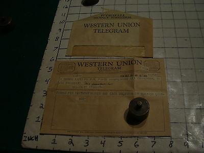 Vintage Western Union Telegram  1958 W Envelope