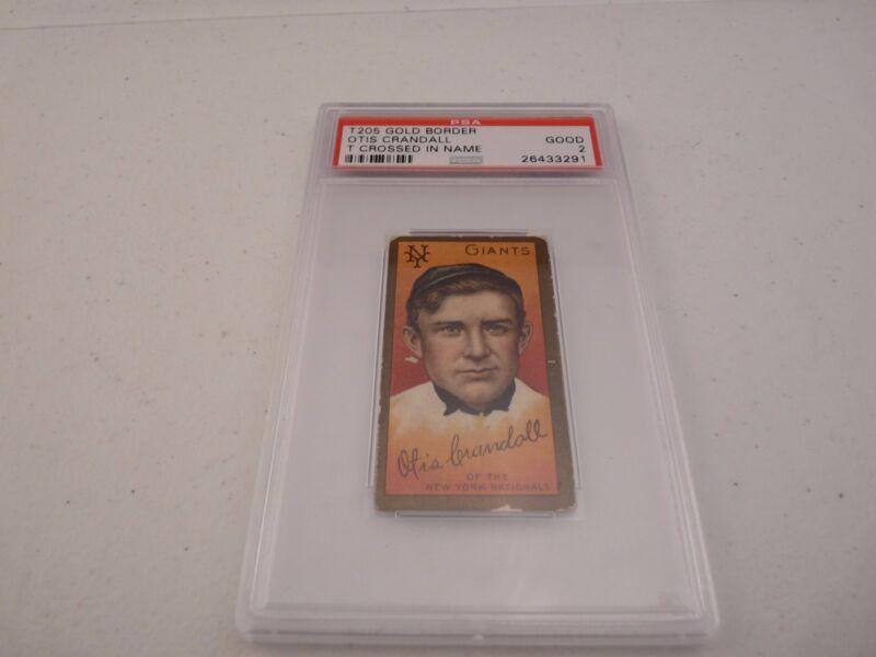 Otis Crandall T205 Gold Border T Crossed Baseball Card PSA Graded Slabbed Good 2