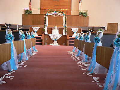 Wedding decor. Chair Bows, Pew Bows, Turquoise,  White, Church Aisle - Wedding Aisle Decor