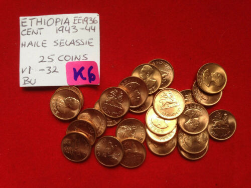 K6 Ethiopia; 25 Coins Lot Cent EE1936 - !943-44 Haile Selassie KM#32  BU