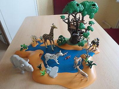 PLAYMOBIL - 4827 - große Wasserstelle mit Hochsitz und vielen Tieren + NEUWERTIG